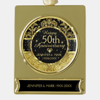 50th Wedding Anniversary-Black And Gold Gold Plated Banner Ornament