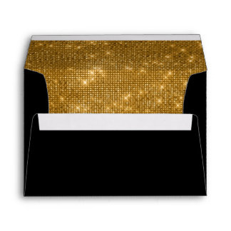 50th Wedding Anniversary Black and Gold Sparkle Envelope
