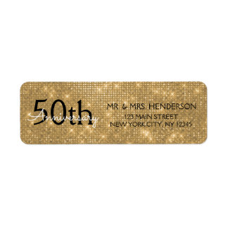 50th Wedding Anniversary Black and Gold Sparkle Label