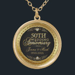 """50th Wedding Anniversary Black Gold &amp; Diamonds Gold Finish Necklace<br><div class=""""desc"""">Elegant 50th wedding anniversary gold and diamonds glitter print over black background. Gold tones round circle frame. Customizable names and years.</div>"""