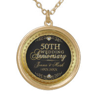 50th Wedding Anniversary Black Gold & Diamonds Gold Plated Necklace