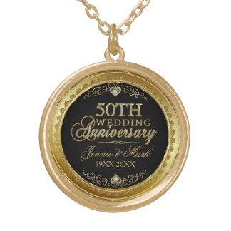 50th Wedding Anniversary Black Gold & Diamonds Round Pendant Necklace