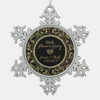 50th Wedding Anniversary Black & Gold Floral Snowflake Pewter Christmas Ornament