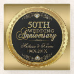 """50th Wedding Anniversary Black &amp; Gold Glass Coaster<br><div class=""""desc"""">Elegant black and shiny gold 50th wedding anniversary text design with hearts and customizable names and year of your wedding.</div>"""