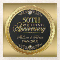 50th Wedding Anniversary Black & Gold Glass Coaster