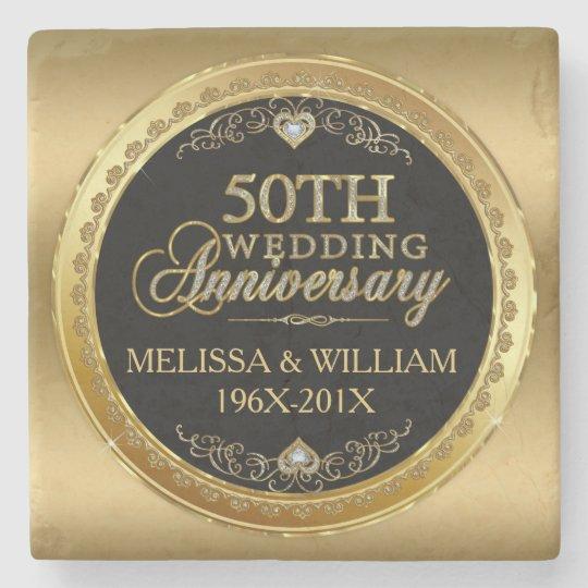 50th Wedding Anniversary Gift Etiquette: 50th Wedding Anniversary Black & Gold Stone Coaster