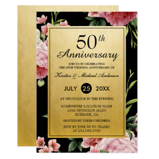 50th Wedding Anniversary Black Gold Vintage Floral Invitation