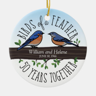 50th Wedding Anniversary, Bluebirds of a Feather Ceramic Ornament