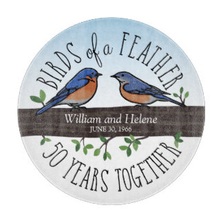 50th Wedding Anniversary, Bluebirds of a Feather Cutting Board