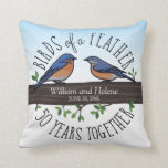 "50th Wedding Anniversary, Bluebirds of a Feather Throw Pillow<br><div class=""desc"">Birdwatchers will adore this custom 50th wedding anniversary keepsake! A male and female bluebird perching on a leafy tree branch are surrounded by handwritten text that reads, ""Birds of a Feather, 50 Years Together. Two names and a wedding date are featured near the center and can be personalized. Perfect for...</div>"