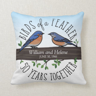 50th Wedding Anniversary, Bluebirds of a Feather Throw Pillow