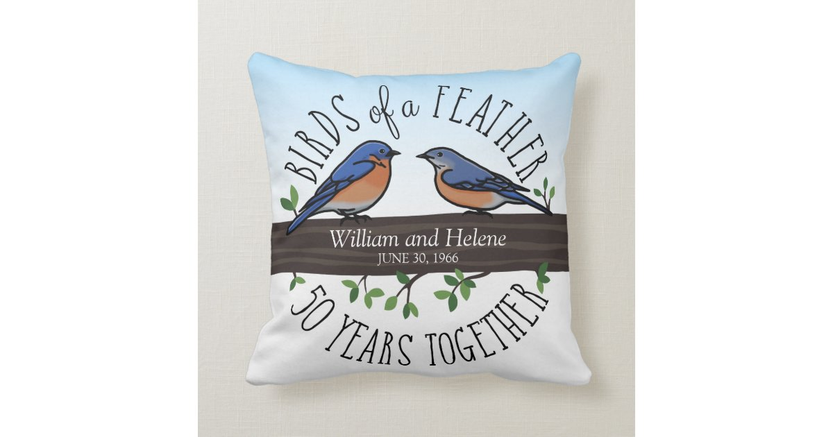 50th Wedding Anniversary Gift Pillows: 50th Wedding Anniversary, Bluebirds Of A Feather Throw