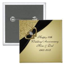 50th Wedding Anniversary Button at Zazzle
