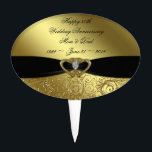 """50th Wedding Anniversary Cake Topper<br><div class=""""desc"""">A Digitalbcon Images Design featuring a Black Satin color and Gold Flourish design theme with a variety of custom images, shapes, patterns, styles and fonts in this one-of-a-kind &quot;50th Wedding Anniversary Design&quot; Cake Topper. With this attractive and elegant design choice you&#39;ll have all your decorations, gift ideas and party favors...</div>"""