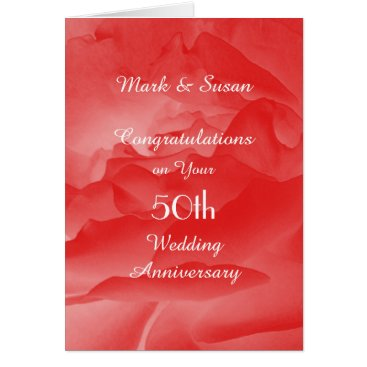 Beach Themed 50th Wedding Anniversary Card Coral Rose