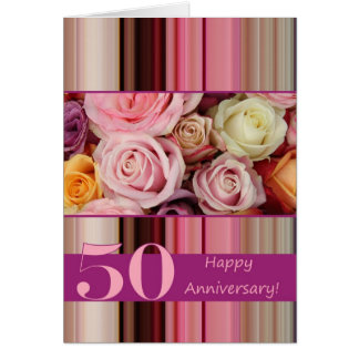 50th Wedding Anniversary Card -Pastel roses stripe