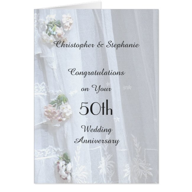 50th Wedding Anniversary Card, Vintage Lace