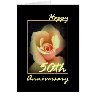 50th Wedding Anniversary Card with Yellow Rosebud