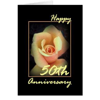 50th Wedding Anniversary Card with Yellow Rosebud
