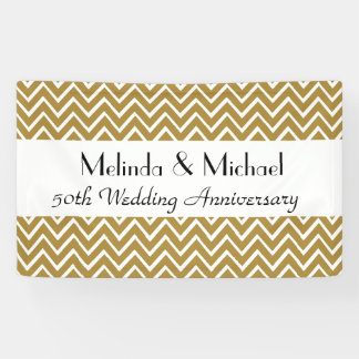 50th Wedding Anniversary Chevron Choose Your Color Banner