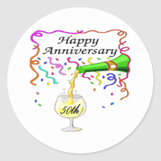 50th wedding anniversary classic round sticker