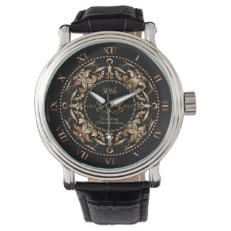 50th Wedding Anniversary Copper Ornate Black Watch