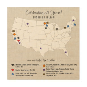 50th Wedding Anniversary Custom Life Story USA Map Wood Print