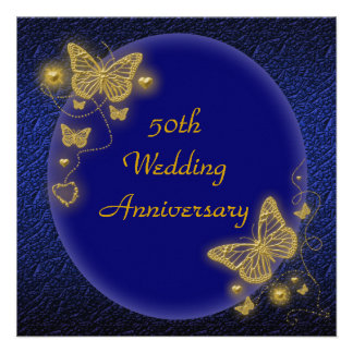 50th wedding anniversary elegant butterfly gold personalized invite