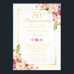 """50th Wedding Anniversary Elegant Chic Gold Floral Card<br><div class=""""desc"""">================= ABOUT THIS DESIGN ================= 50th Wedding Anniversary Elegant Chic Gold Floral Invitation. (1) All text style, colors, sizes can be modified to fit your needs. (2) If you need any customization or matching items, please feel free to contact me. (In case you didn&#39;t get my response, please check the...</div>"""