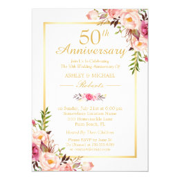50th Wedding Anniversary Elegant Chic Gold Fl Card