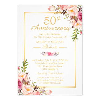 50th Wedding Anniversary Elegant Chic Gold Floral Card
