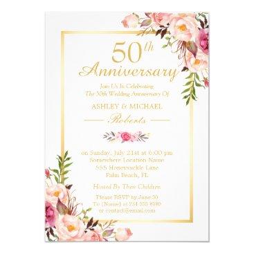 anniversarie 50th Wedding Anniversary Elegant Chic Gold Floral Card