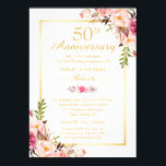 "50th Wedding Anniversary Elegant Chic Gold Floral Invitation<br><div class=""desc"">50th Wedding Anniversary Elegant Chic Gold Floral Invitation. (1) For further customization, please click the &quot;customize further&quot; link and use our design tool to modify this template. (2) If you need help or matching items, please contact me. (3) You can find matching products (e.g. Invites, RSVP card, Reception Card, Thank...</div>"