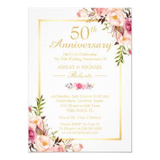 50th Wedding Anniversary Elegant Chic Gold Floral Invitation