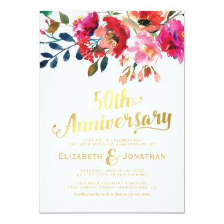 50th Wedding Anniversary Elegant Gold Floral Invitation