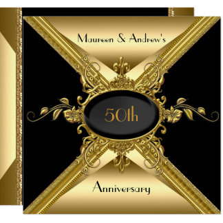50th Wedding Anniversary Elegant Gold Golden Invitation