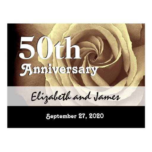 Golden Wedding Anniversary Gift Experiences : 50th Wedding Anniversary Elegant Gold Rose A016 Postcard Zazzle