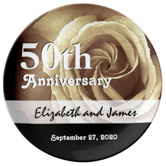 50th Wedding Anniversary Elegant Gold Rose A14 Plate