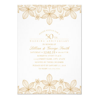 50th Wedding Anniversary Elegant Golden Lace Invitation