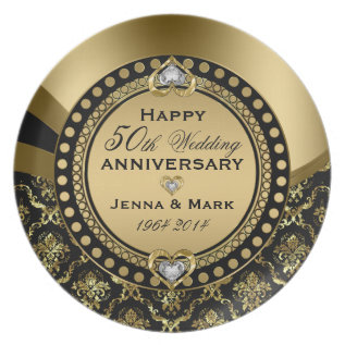 50th Wedding Anniversary Floral Black & Gold 4a Melamine Plate at Zazzle