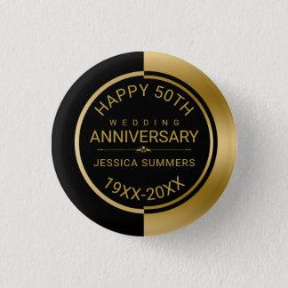 50th Wedding Anniversary Geometric Black & Gold Pinback Button
