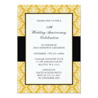 50th Wedding Anniversary Gold and Black Damask 5x7 Paper Invitation Card