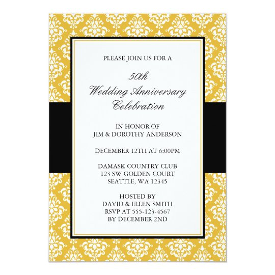 50th Wedding Anniversary Gold and Black Damask Card