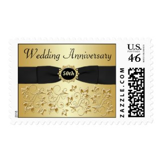 50th Wedding Anniversary Gold Black Floral Postage