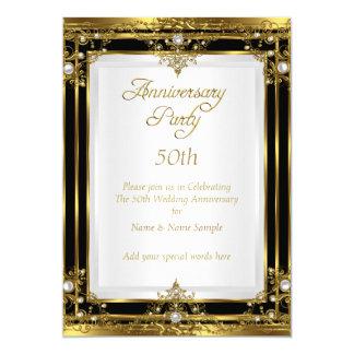 50th Wedding Anniversary Gold Black White Pearl Card
