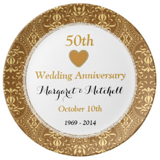 50th Wedding Anniversary Gold Damask and Lace V08 Porcelain Plate