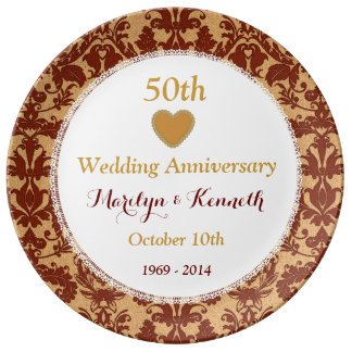 50th Wedding Anniversary Gold Damask and Lace V09 Porcelain Plates