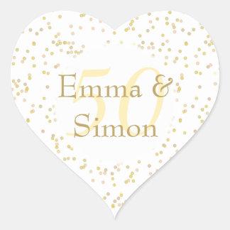 50th Wedding Anniversary Gold Dust Confetti Heart Sticker