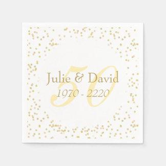 50th Wedding Anniversary Gold Dust Confetti Napkin
