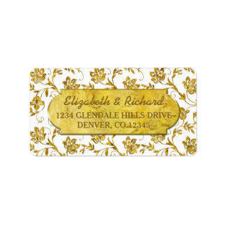 50th Wedding Anniversary Gold Flora Return Address Label